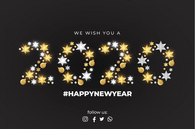 Wij wensen u een gelukkig nieuwjaarskaartsjabloon Gratis Vector