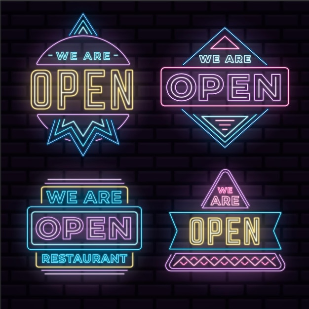 Wij zijn open - neonreclame collectie Gratis Vector