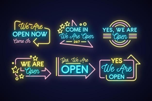 Wij zijn open neonreclame collectie Gratis Vector