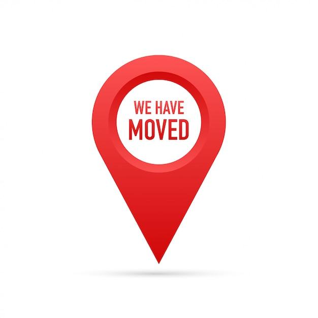 Wij zijn verhuisd. kantoor teken verplaatsen. Premium Vector