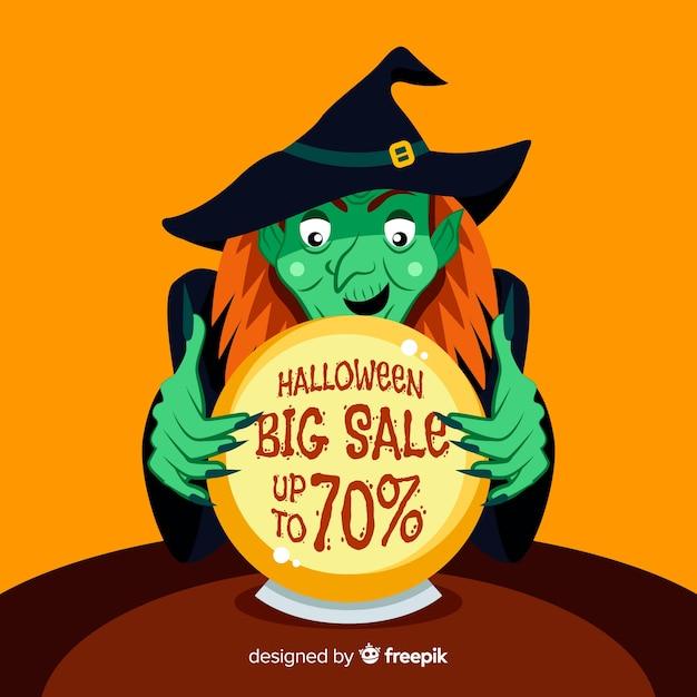 Wijfje dat een verkoop van halloween van de heksenbal onderzoekt Gratis Vector