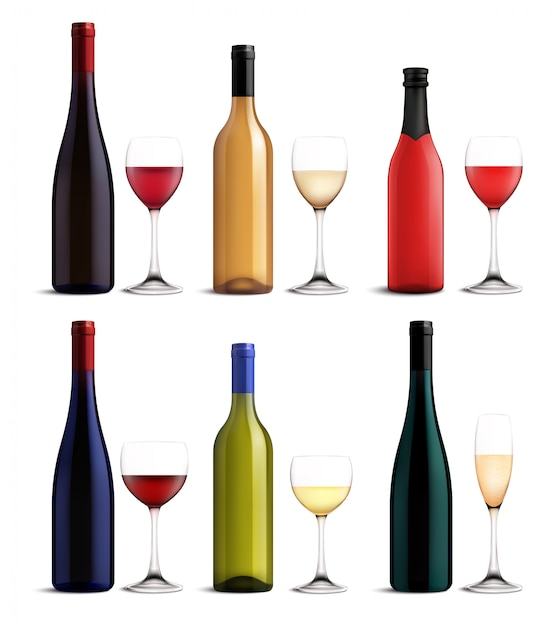 Wijn en glazen set Gratis Vector
