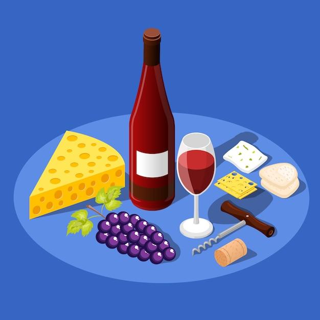 Wijn en snacks achtergrond Gratis Vector