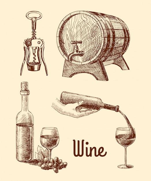 Wijn, getrokken hand Gratis Vector