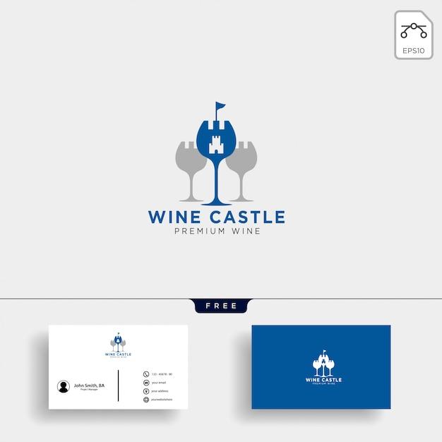 Wijn koninkrijk, koningin wijn elegante logo sjabloon vectorillustratie Premium Vector