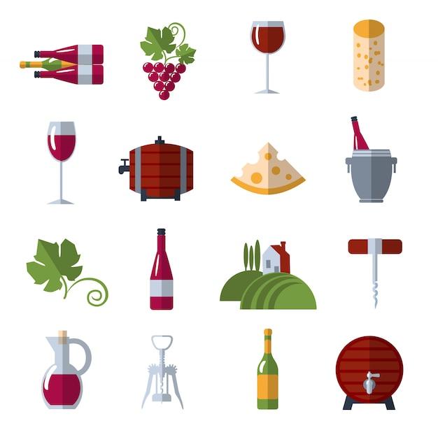 Wijn plat pictogrammen instellen Gratis Vector
