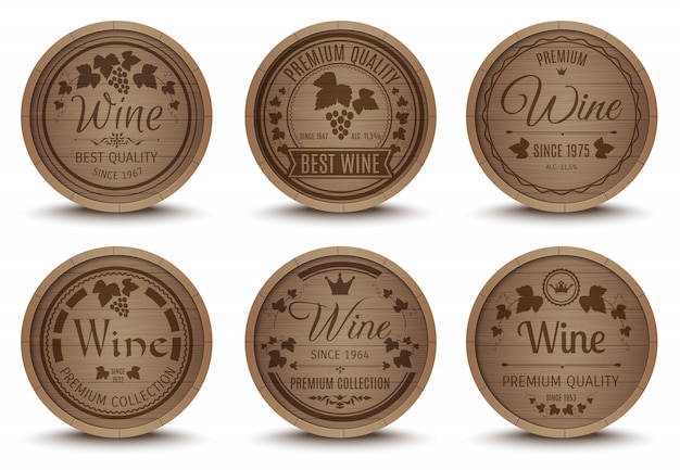 Wijn vaten pictogrammen instellen Gratis Vector