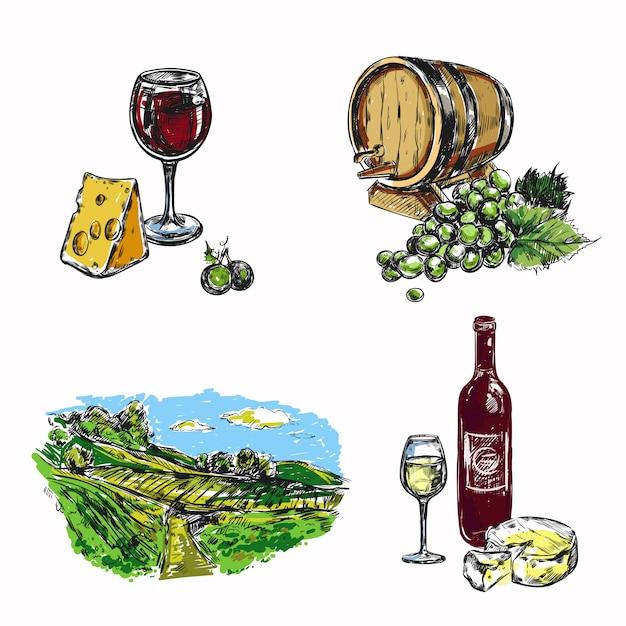 Wijn wijngaard set Gratis Vector