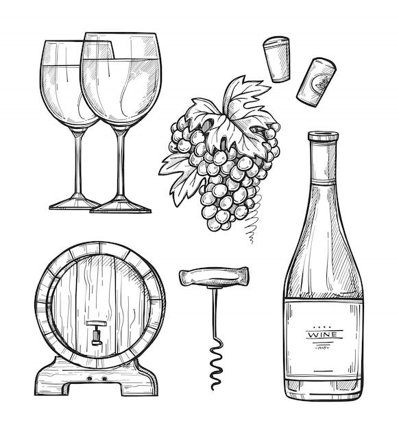 Wijnbereiding hand getrokken set Premium Vector