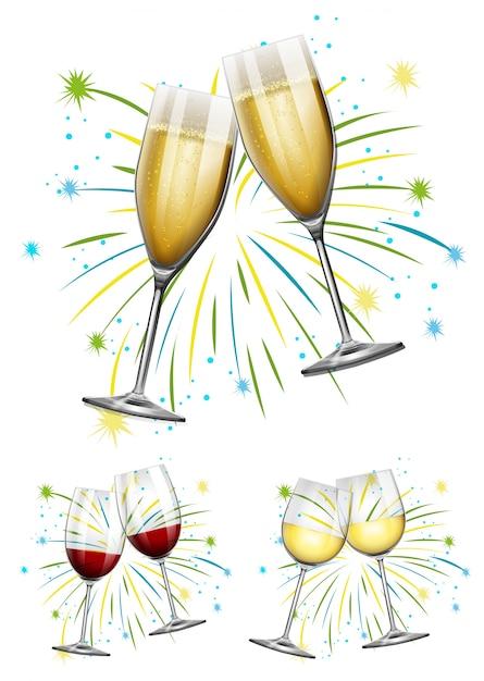Wijnbril en champagne glazen illustratie Gratis Vector