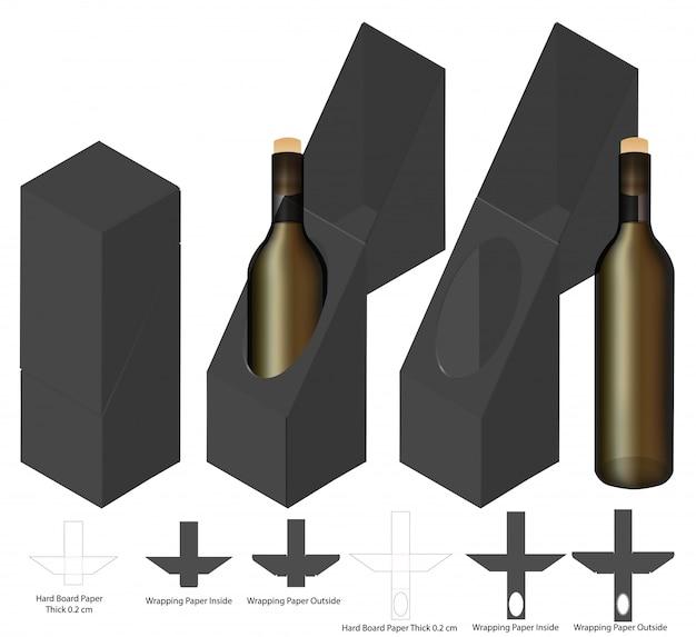 Wijnfles doos verpakking gestanst sjabloonontwerp. Premium Vector