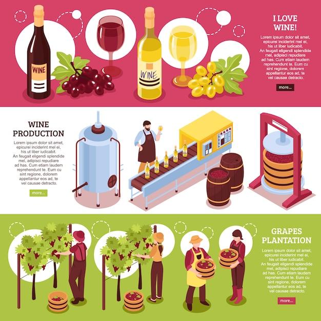 Wijnmakerij isometrische horizontale banners rode en witte wijnproductie van drank en druivenplantage Gratis Vector