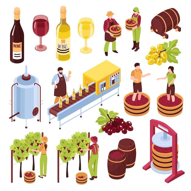 Wijnmakerij isometrische vastgestelde wijngaard met oogst het drukken van druiven die transportbanddrank in drinkbekers bottelen geïsoleerde illustratie Gratis Vector