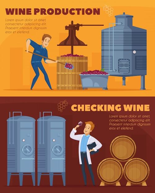 Wijnproductie cartoon horizontale banners Gratis Vector