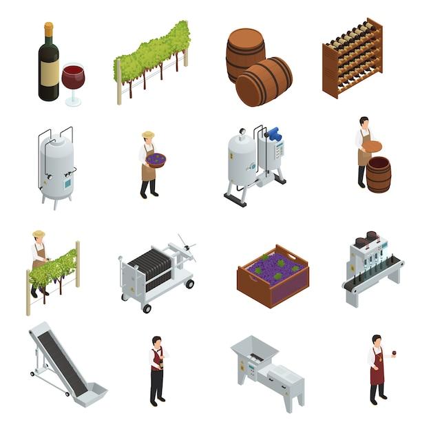 Wijnproductie isometrische set Gratis Vector