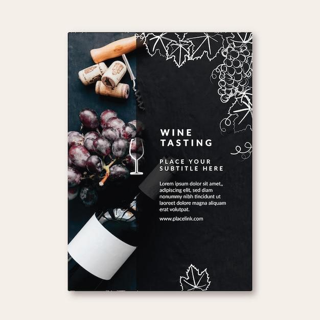 Wijnproeverij flyer-sjabloon Gratis Vector