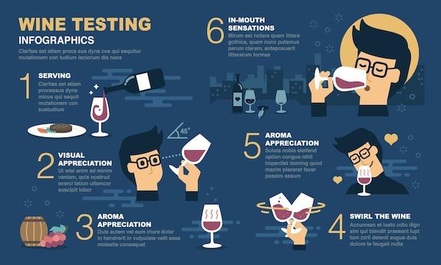 Wijnproeverij infographic. Premium Vector