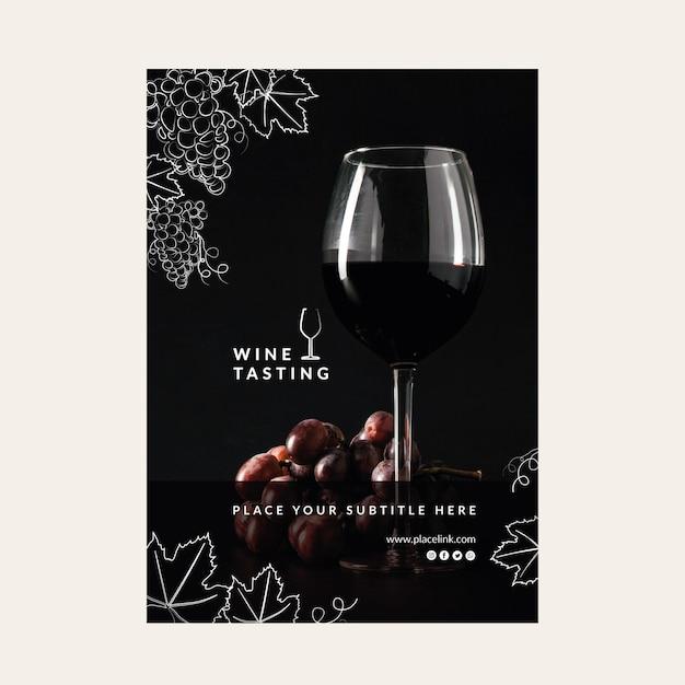 Wijnproeverij sjabloon poster Gratis Vector