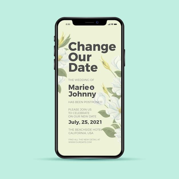 Wijzig onze datum uitgestelde trouwtelefoon-app Gratis Vector