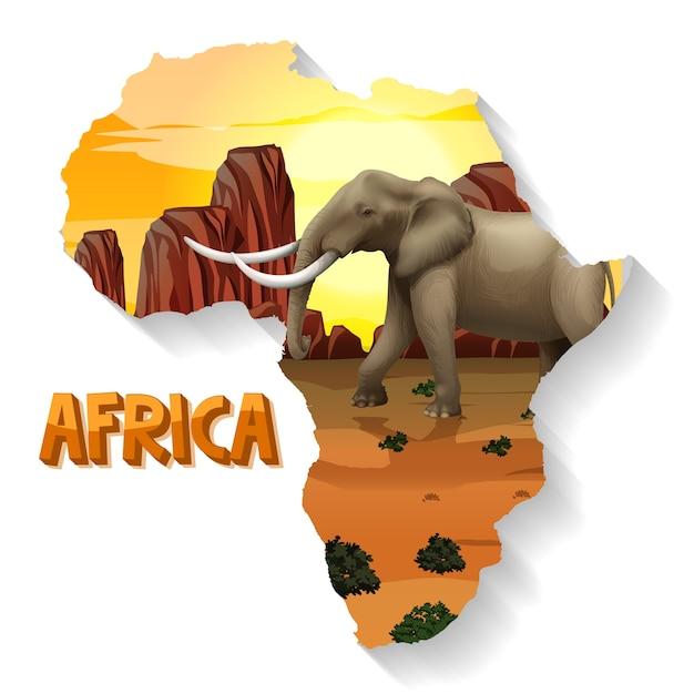 Wild afrikaans dier op de kaart Gratis Vector