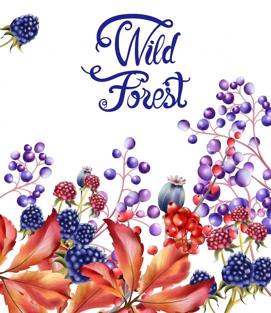 Wild bosvruchten boeket kaart Premium Vector