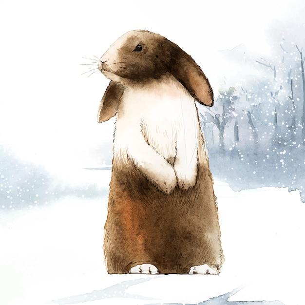 Wild bruin konijn in een de wintersprookjesland Gratis Vector