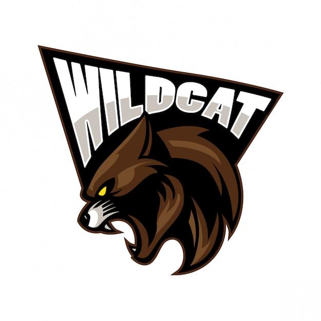 Wild cat sport mascotte ontwerp Premium Vector