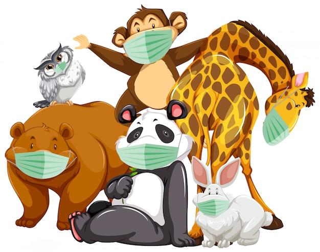 Wild dierlijk beeldverhaalkarakter dat masker draagt Gratis Vector