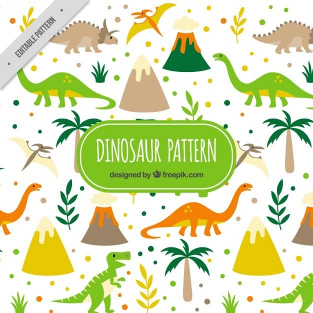Wild dinosaurussen patroon Gratis Vector