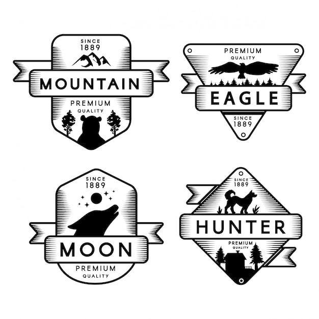 Wild eagle en hunter, maan en berg instellen logo Premium Vector