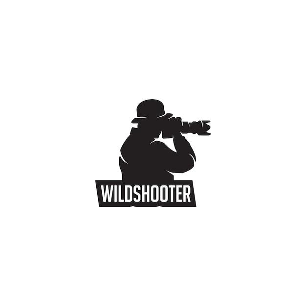 Wild fotograaf silhouet logo Premium Vector