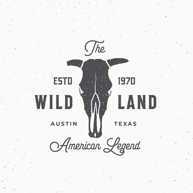 Wild land abstract teken, symbool of logo sjabloon. Gratis Vector