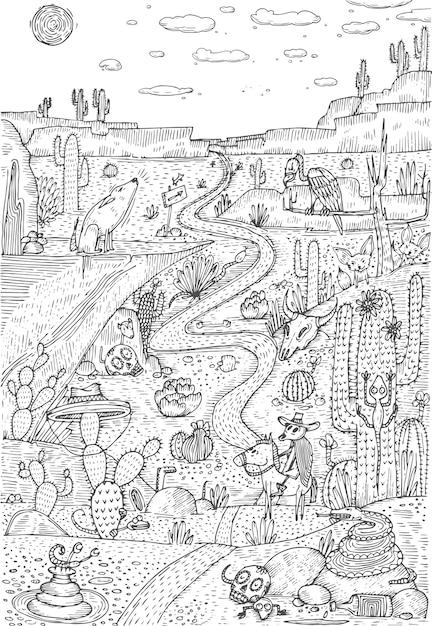Wild leven in woestijn getekend in lijn kunststijl. kleurplaat boek pagina-ontwerp. vector illustratie Premium Vector