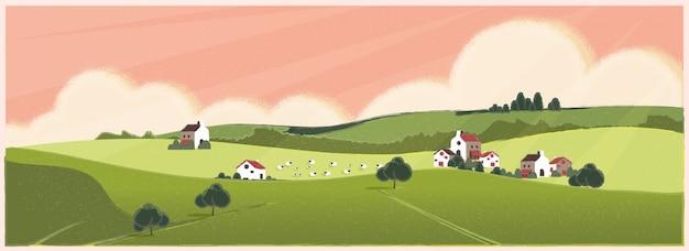 Wild panoramisch landelijk landschap in de lente of zomer. de landbouwlandbouw van europa met schapen in de lente of de zomer. Premium Vector