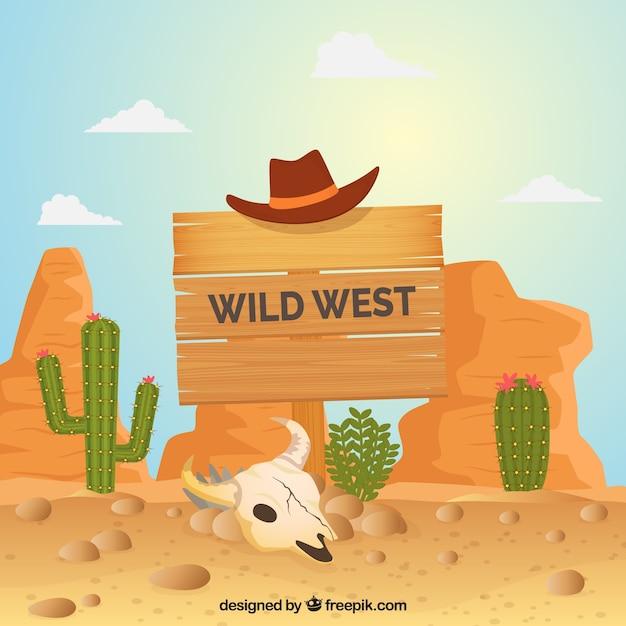 Wild west achtergrond met houten bord en hoed Gratis Vector