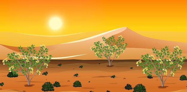 Wild woestijnlandschap bij dagtafereel Gratis Vector