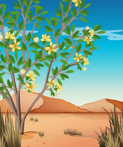 Wild woestijnlandschap bij dagtafereel Premium Vector