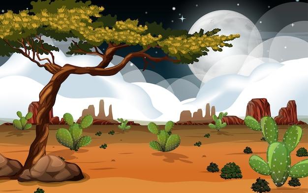 Wild woestijnlandschap bij nachtscène Gratis Vector