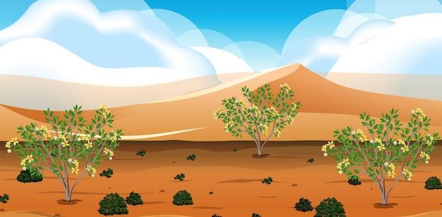 Wild woestijnlandschap bij scène overdag Gratis Vector