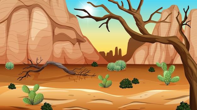Wild woestijnlandschap bij scène overdag Premium Vector