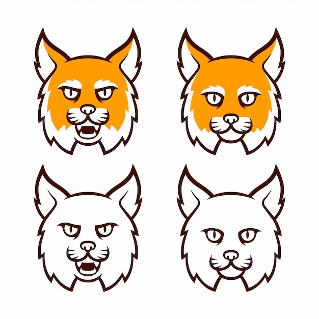 Wildcat mascotte hoofd collectie Premium Vector