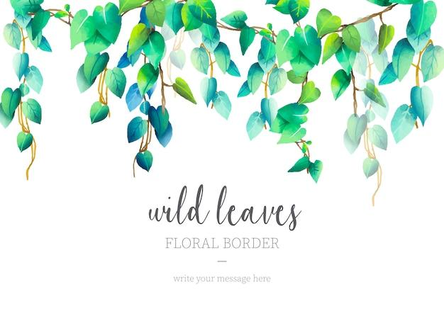 Wilde bladeren bloemenrand Gratis Vector