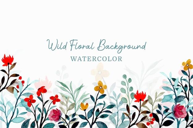 Wilde bloemenachtergrond met waterverf Premium Vector