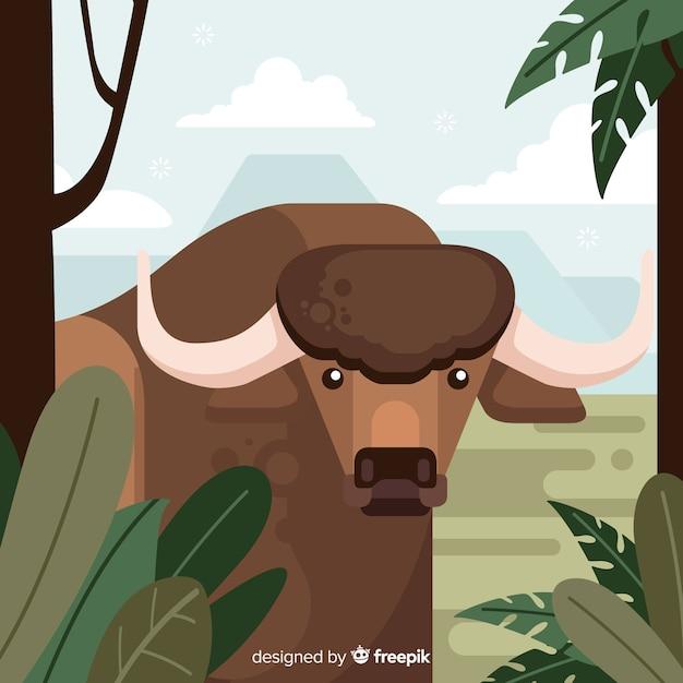 Wilde buffels cartoon afbeelding Gratis Vector