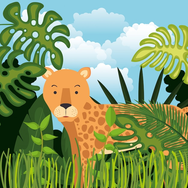 Wilde cheetah in de jungle scene Gratis Vector