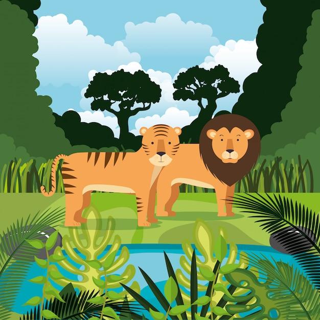 Wilde dieren in de jungle scene Gratis Vector