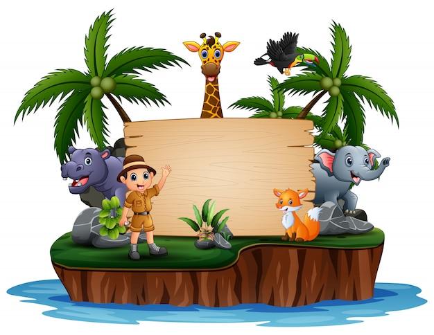 Wilde dieren met dierenverzorger op houten bord Premium Vector