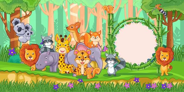 Wilde dieren met een leeg tekenbamboe in het bos Premium Vector