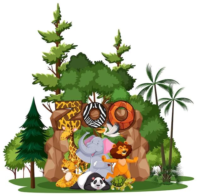 Wilde dieren of dierentuindieren groep met natuurelementen op witte achtergrond Gratis Vector