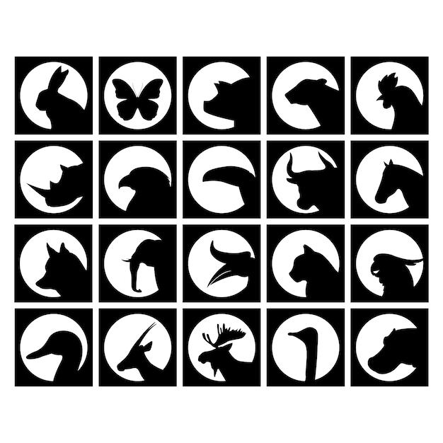 Wilde dieren silhouetten collectie Gratis Vector